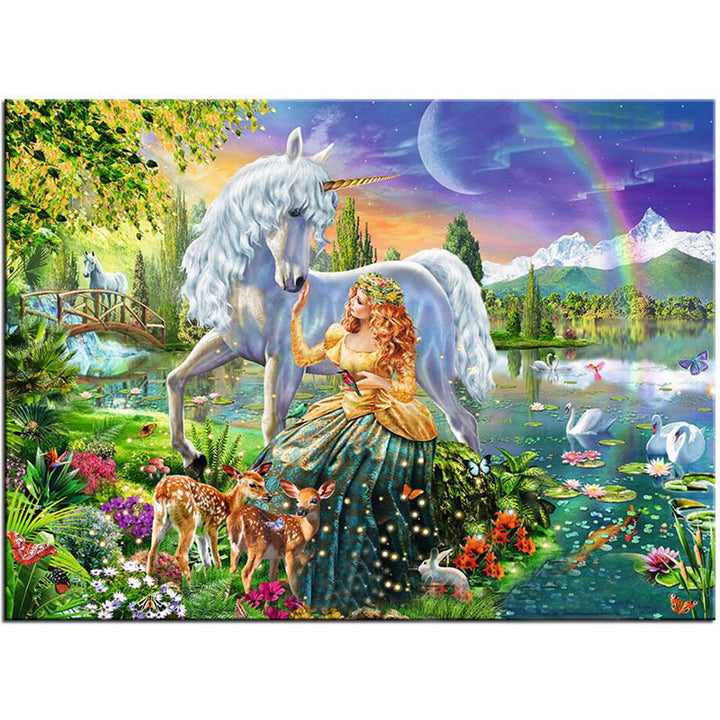 Unicorn with Princess DIY Acrylic Paint By Numbers Kit 40x50cm