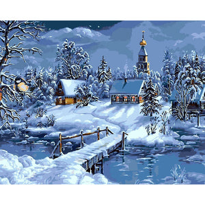 Snowing Landscape Frameless DIY Acrylic Paint By Numbers Kit 40x50cm