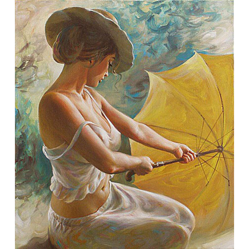Sexy Women with Umbrella Frameless DIY Acrylic Paint By Numbers Kit 40x50cm