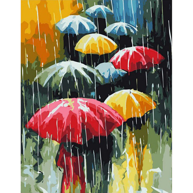 Umbrellas Frameless DIY Acrylic Paint By Numbers Kit 40x50cm