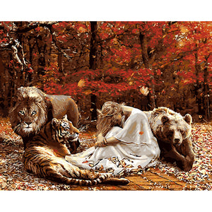 Women And Animals Frameless DIY Acrylic Paint By Numbers Kit 40x50cm