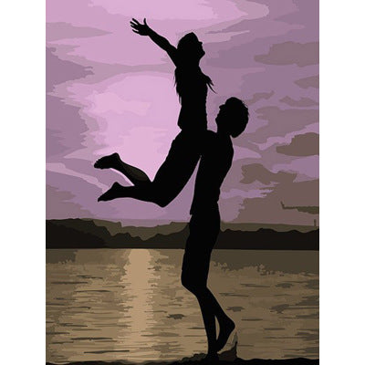 Lover Silhouette Frameless DIY Acrylic Paint By Numbers Kit 40x50cm