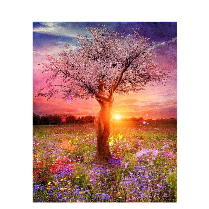 Women Tree Frameless DIY Acrylic Paint By Numbers Kit 40x50cm