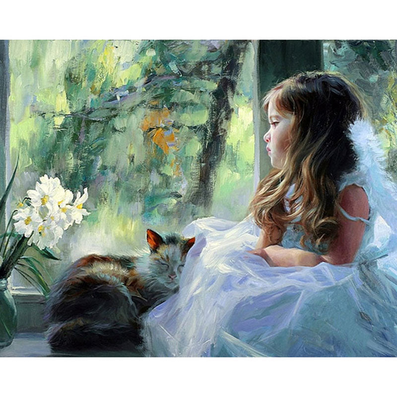 Little Girls with Cat Frameless DIY Acrylic Paint By Numbers Kit 40x50cm