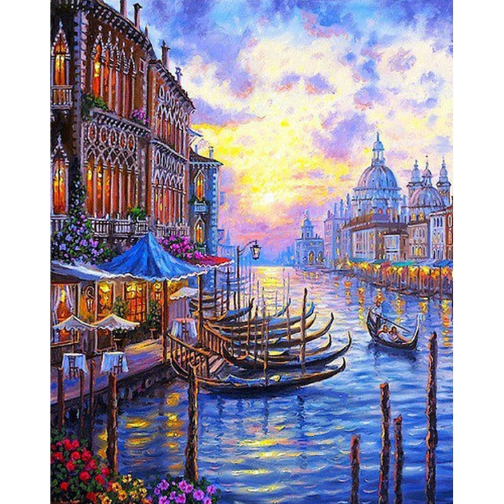 Venice Sunset Seascape Frameless DIY Acrylic Paint By Numbers Kit 40x50cm
