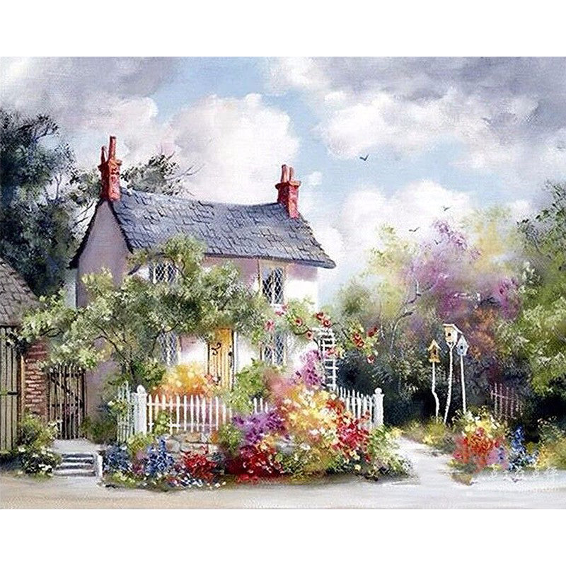 Rural Villa Landscape Frameless DIY Acrylic Paint By Numbers Kit 40x50cm