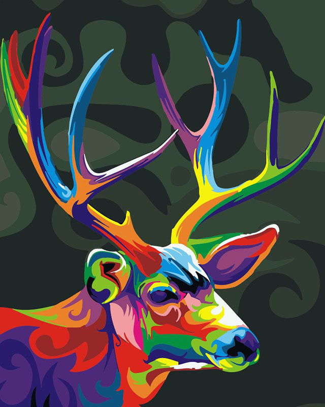 Abstract Colorful Deer Frameless DIY Acrylic Paint By Numbers Kit 40x50cm