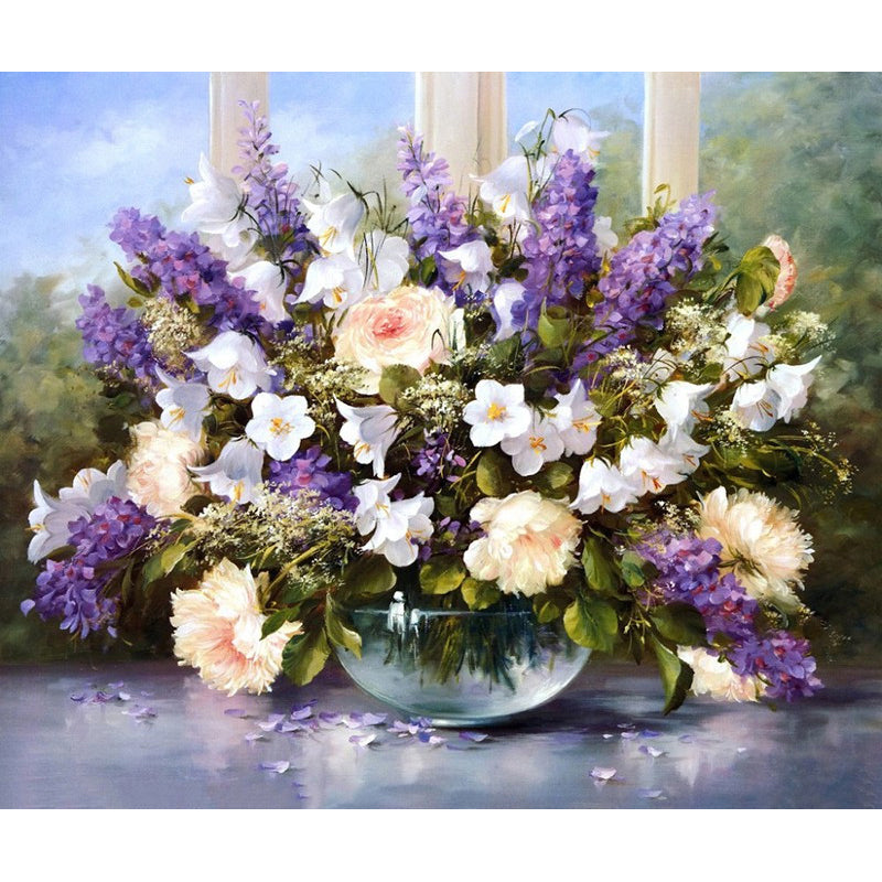 Lavender and White Flowers Frameless DIY Acrylic Paint By Numbers Kit 40x50cm