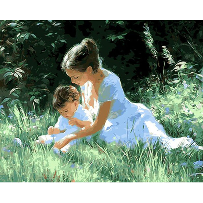 Mother and Baby Frameless DIY Acrylic Paint By Numbers Kit 40x50cm