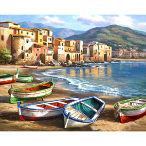 Boats On The Beach Frameless DIY Acrylic Paint By Numbers Kit 40x50cm