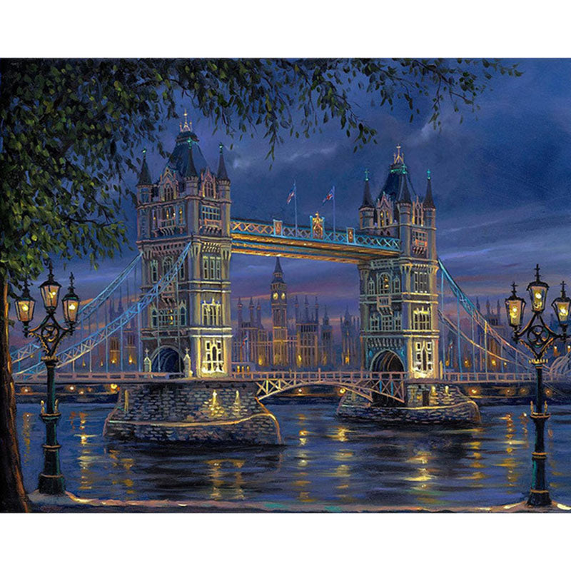 London Bridge Landscape Frameless DIY Acrylic Paint By Numbers Kit 40x50cm