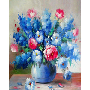 Blue and Pink Flowers Frameless DIY Acrylic Paint By Numbers Kit 40x50cm