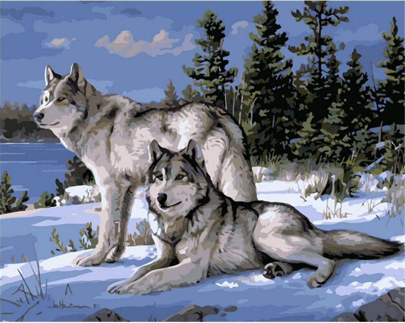Wolfs in Winter Frameless DIY Acrylic Paint By Numbers Kit 40x50cm