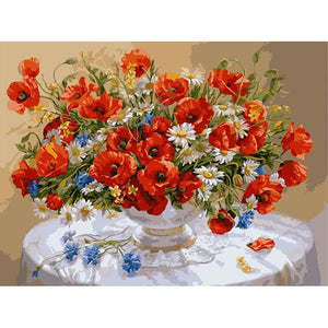 Colorful Red Flowers Frameless DIY Acrylic Paint By Numbers Kit 40x50cm