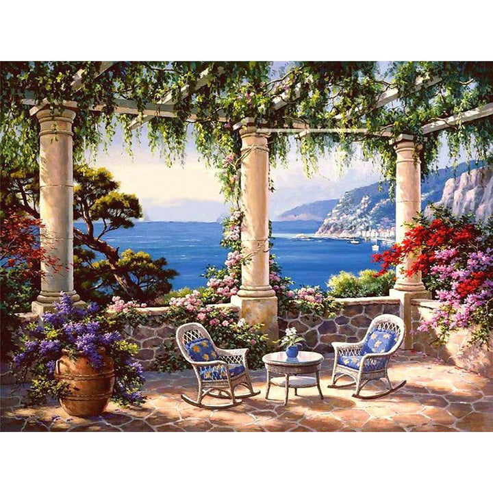 Seascape Garden Frameless DIY Acrylic Paint By Numbers Kit 40x50cm