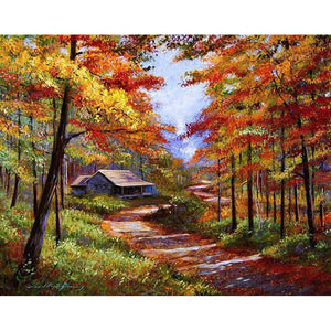 Autumn Countryside Frameless DIY Acrylic Paint By Numbers Kit 40x50cm