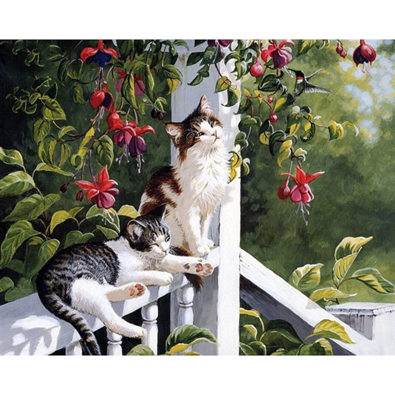 Cats Frameless DIY Acrylic Paint By Numbers Kit 40x50cm