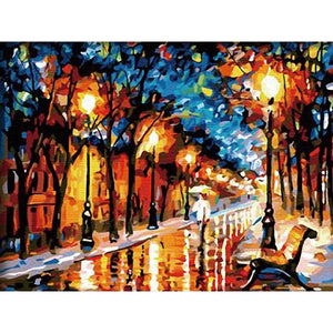 Abstract Walking Street Side Frameless DIY Acrylic Paint By Numbers Kit 40x50cm