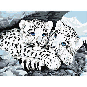 Snow Leopard Babies Frameless DIY Acrylic Paint By Numbers Kit 40x50cm