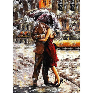 Romantic Lover Under Umbrella Frameless DIY Acrylic Paint By Numbers Kit 40x50cm