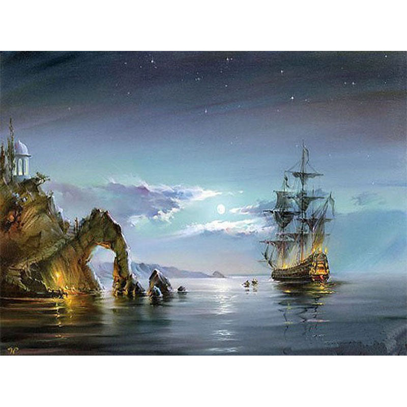Sailing Boat Seascape in Night Frameless DIY Acrylic Paint By Numbers Kit 40x50cm