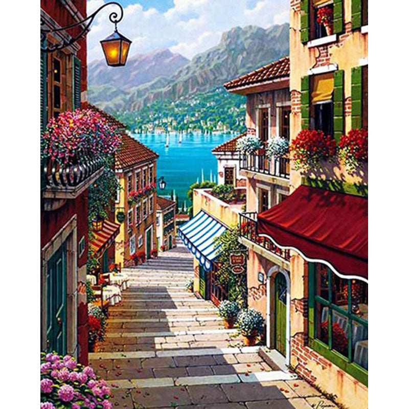 Sunny Seaside Town Frameless DIY Acrylic Paint By Numbers Kit 40x50cm