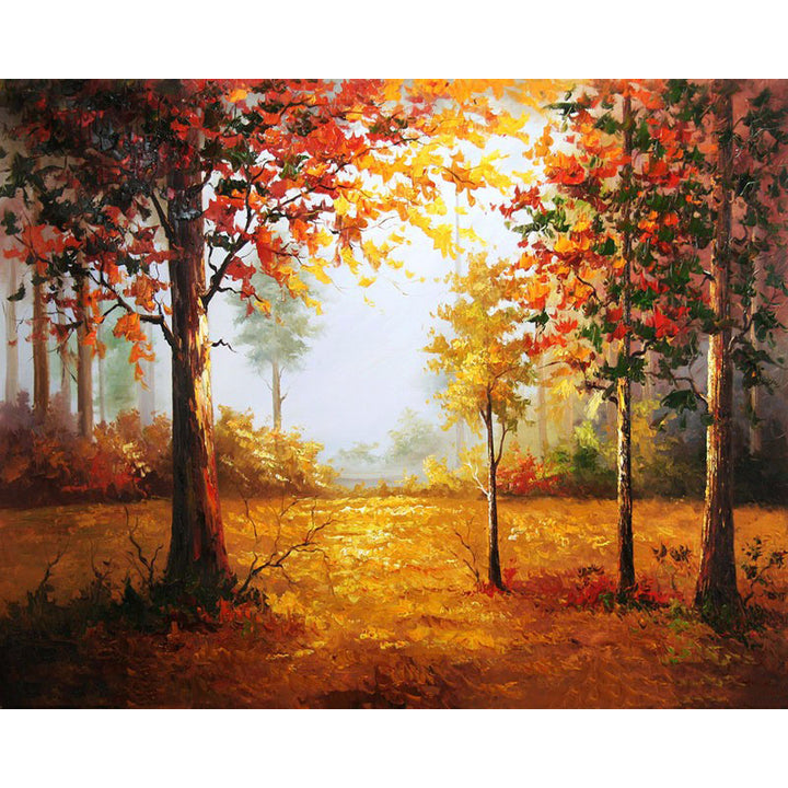 Autumn Forest Landscape Frameless DIY Acrylic Paint By Numbers Kit 40x50cm