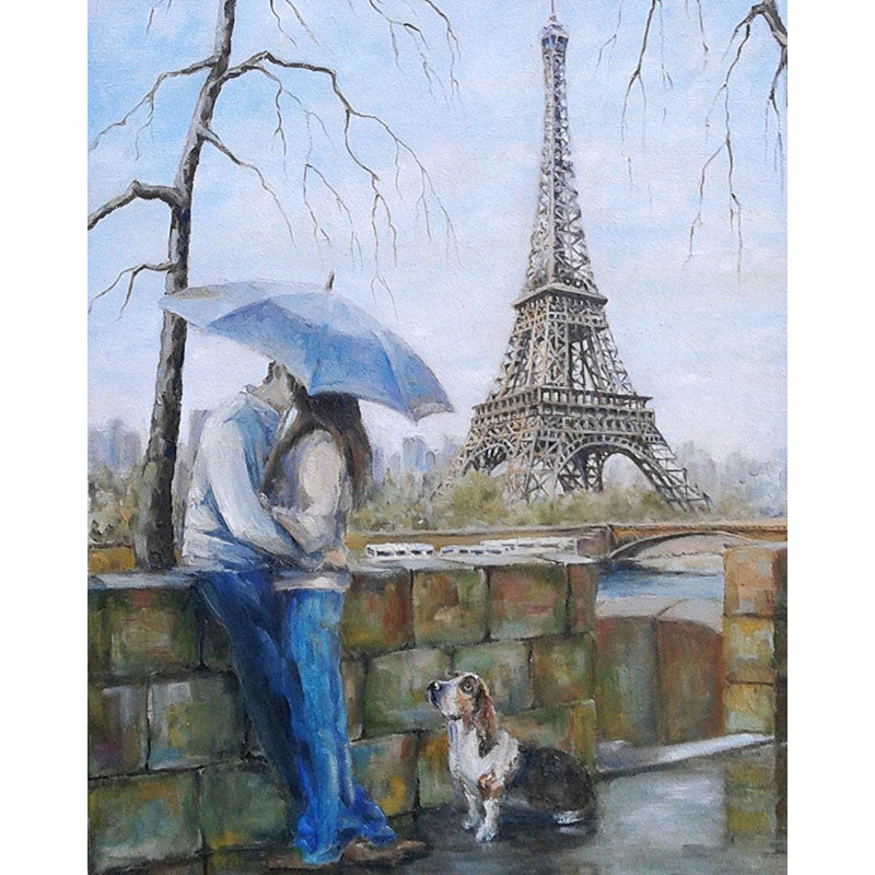 Kissing Lover in Paris Frameless DIY Acrylic Paint By Numbers Kit 40x50cm