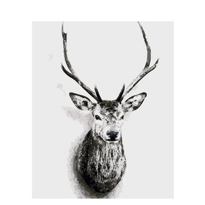 Black and White Deer Art Frameless DIY Acrylic Paint By Numbers Kit 40x50cm