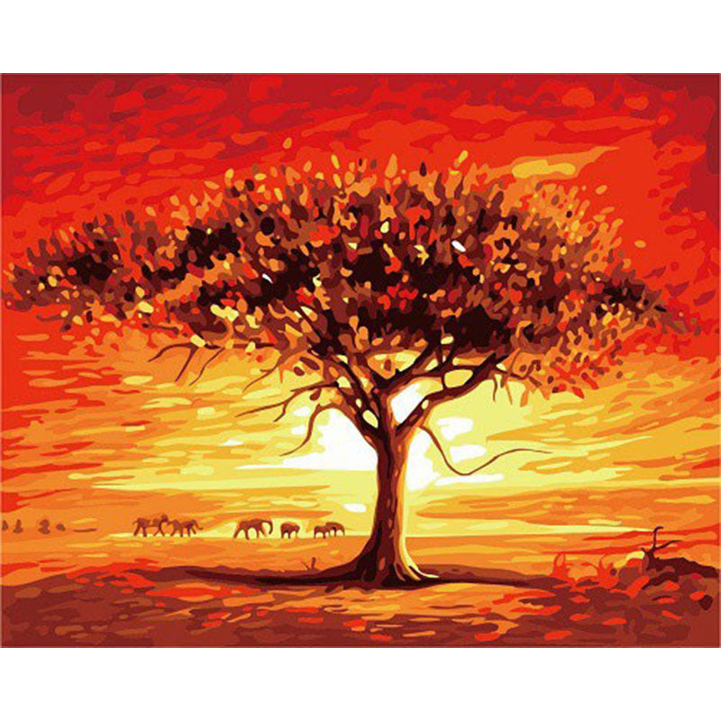 Safari Sunset Frameless DIY Acrylic Paint By Numbers Kit 40x50cm