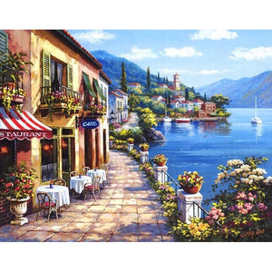 Seaside Cafe Landscape Frameless DIY Acrylic Paint By Numbers Kit 40x50cm