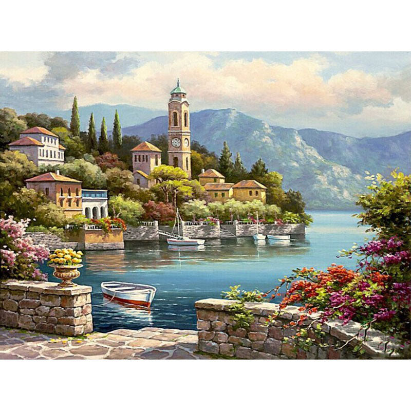 Waterfront City Frameless DIY Acrylic Paint By Numbers Kit 40x50cm