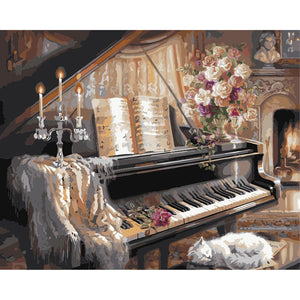 Piano Frameless DIY Acrylic Paint By Numbers Kit 40x50cm