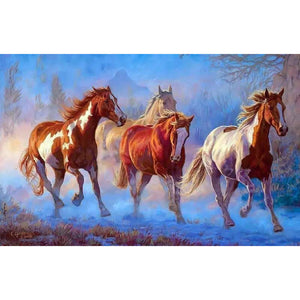Horses Running Frameless DIY Acrylic Paint By Numbers Kit 40x50cm
