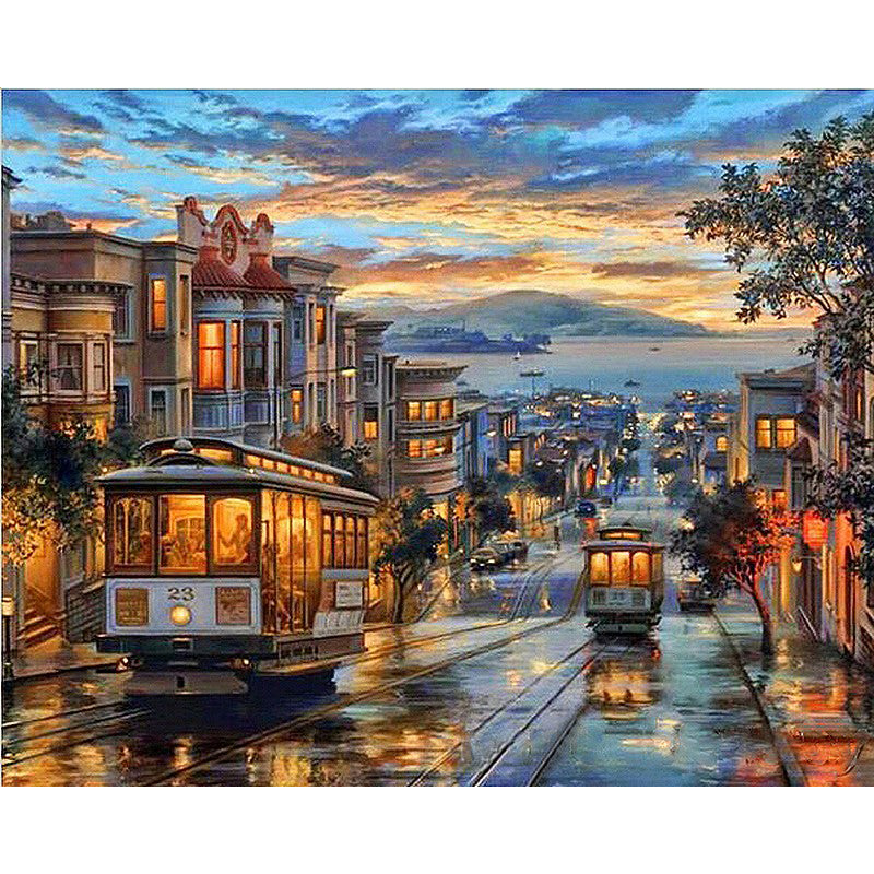 Tram Landscape Frameless DIY Acrylic Paint By Numbers Kit 40x50cm