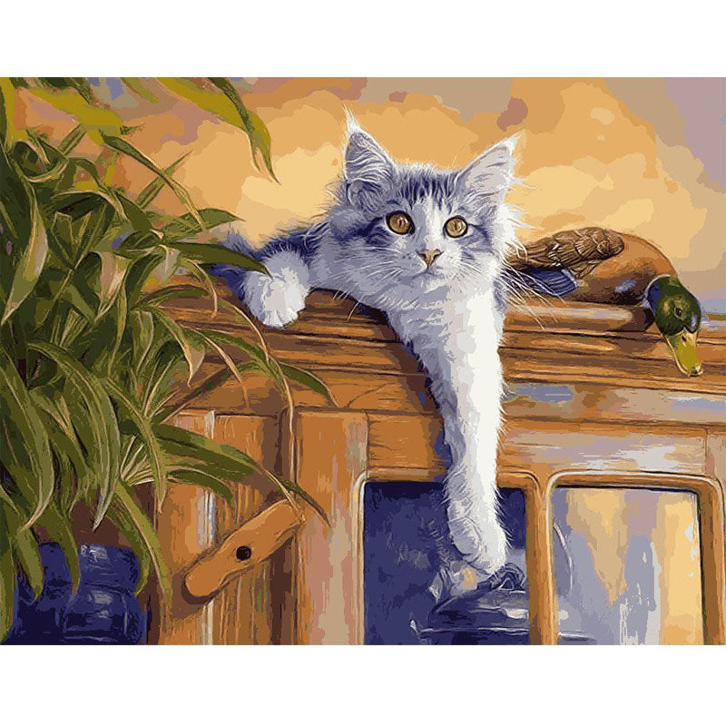 Cat on The Cupboard Frameless DIY Acrylic Paint By Numbers Kit 40x50cm