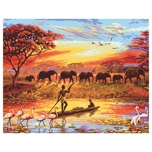 Safira Landscape Frameless DIY Acrylic Paint By Numbers Kit 40x50cm