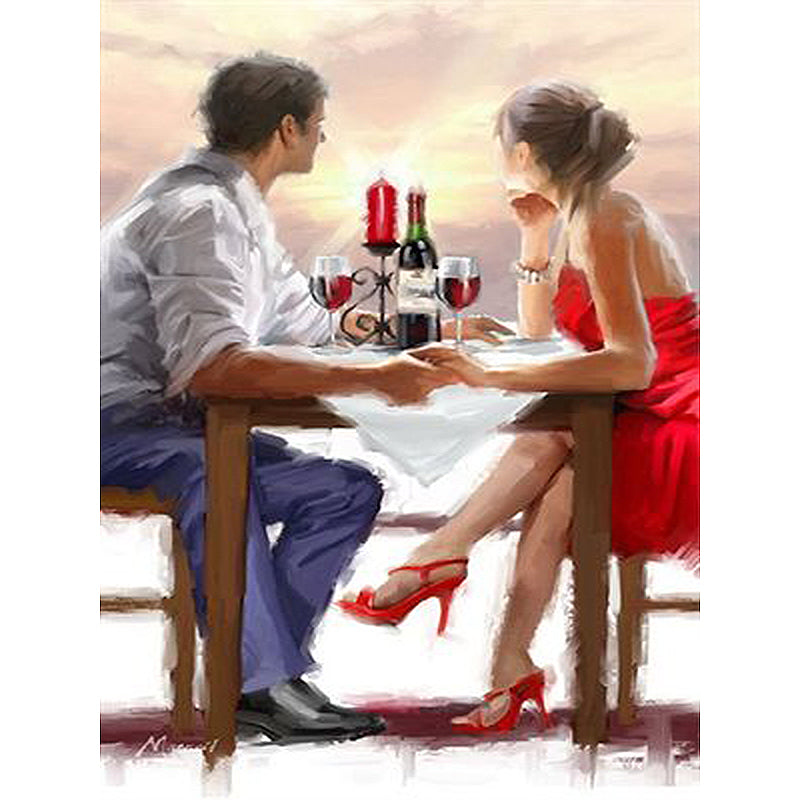 Romantic Couple Fine Dinning Frameless DIY Acrylic Paint By Numbers Kit 40x50cm