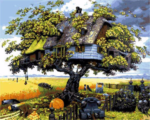 Anime Tree House Frameless DIY Acrylic Paint By Numbers Kit 40x50cm