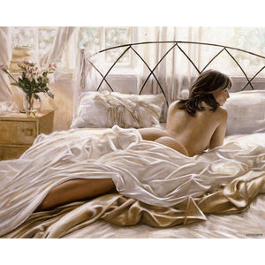 Sexy Woman Lying Bed Frameless DIY Acrylic Paint By Numbers Kit 40x50cm