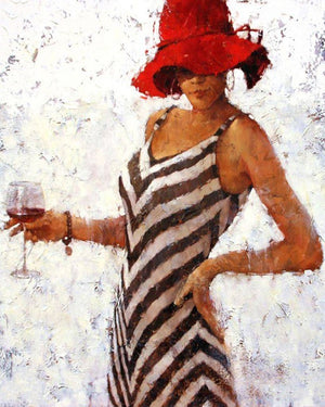 Woman Drinking Red Wine Frameless DIY Acrylic Paint By Numbers Kit 40x50cm