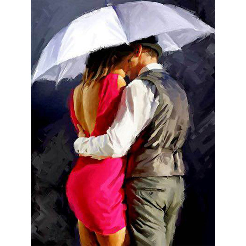 Kissing Lover Under Umbrella Frameless DIY Acrylic Paint By Numbers Kit 40x50cm