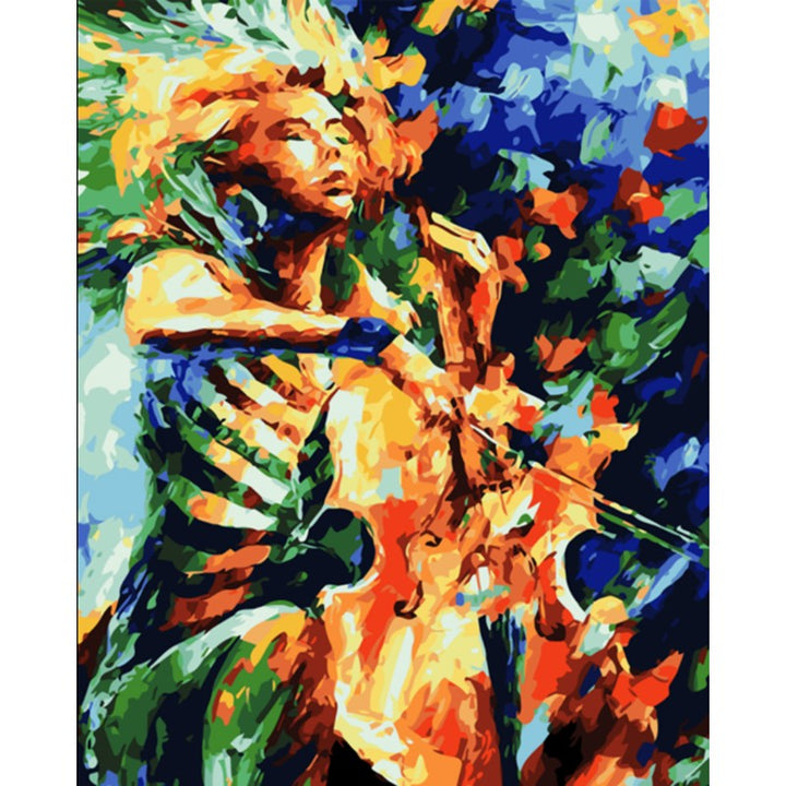 Abstract Cello Musician Frameless DIY Acrylic Paint By Numbers Kit 40x50cm
