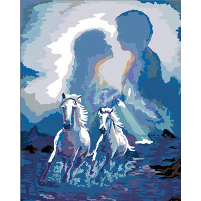 Racing Horses in Love Frameless DIY Acrylic Paint By Numbers Kit 40x50cm