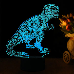 Dinosaur Inspired 3D Optical Illusion LED Lamp