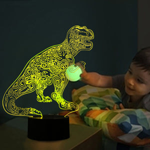 chilldecor.com Dinosaur Inspired 3D Optical Illusion LED Lamp
