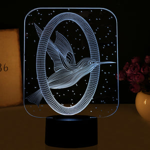 Mockingjay Bird Inspired 3D Optical Illusion LED Lamp