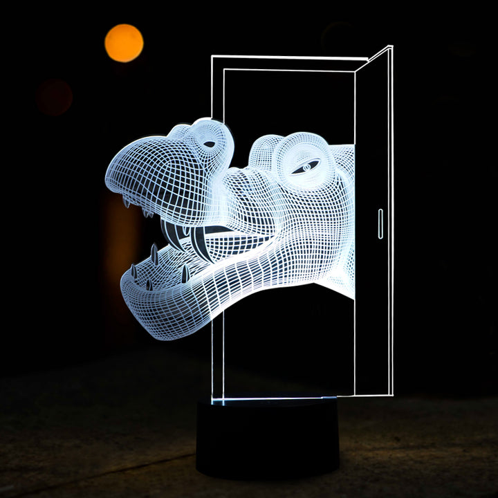 Dinosaur Opened The Door 3D Optical Illusion LED Lamp chilldecor.com