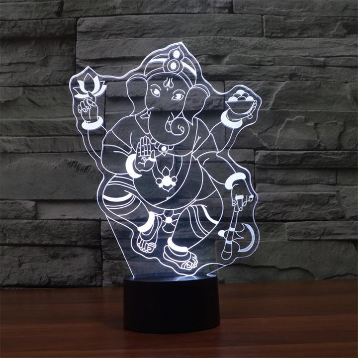 Ganesh 3D Optical Illusion LED Lamp chilldecor.com