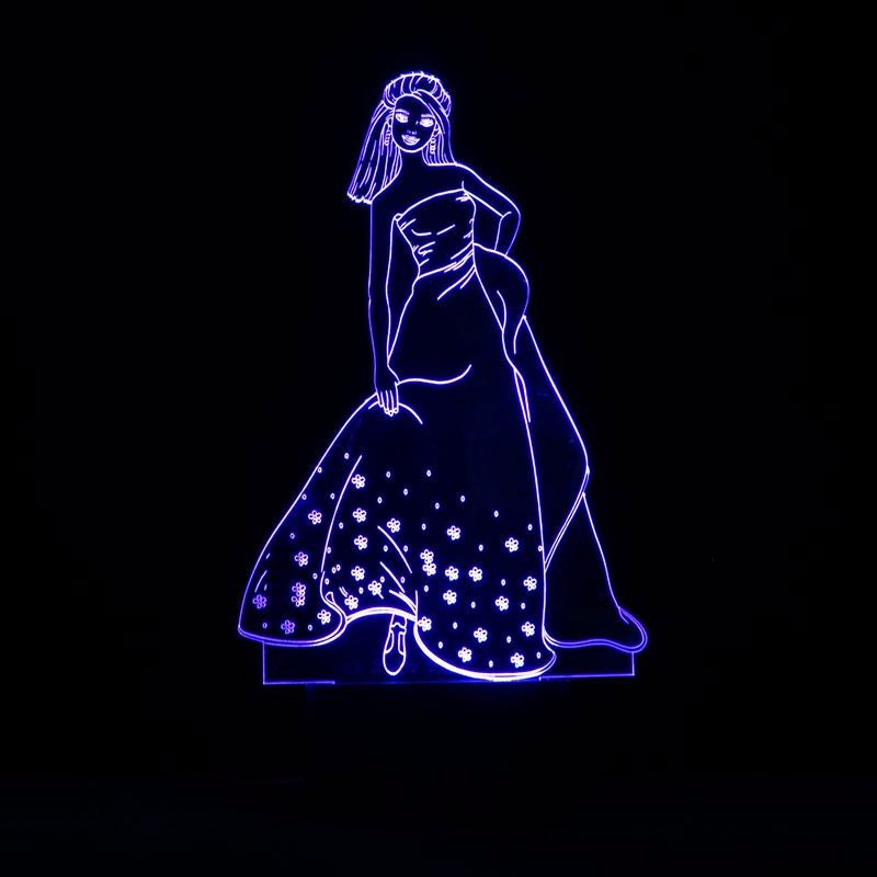 chilldecor.com Beauty Lady 3D Optical Illusion LED Lamp